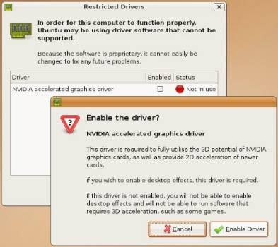 Then all you have to do is tell Ubuntu to enable your drivers