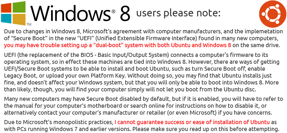 IMPORTANT INFORMATION for Windows 8 Users!